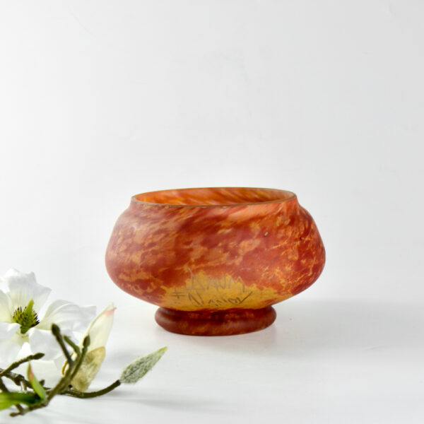 Daum Nancy marbled glass bowl-antique Pâte de verre-Signed, Croix de Lorraine-Daum Nancy vase-Art Nouveau glass-antique French glass 1910 4 (1)
