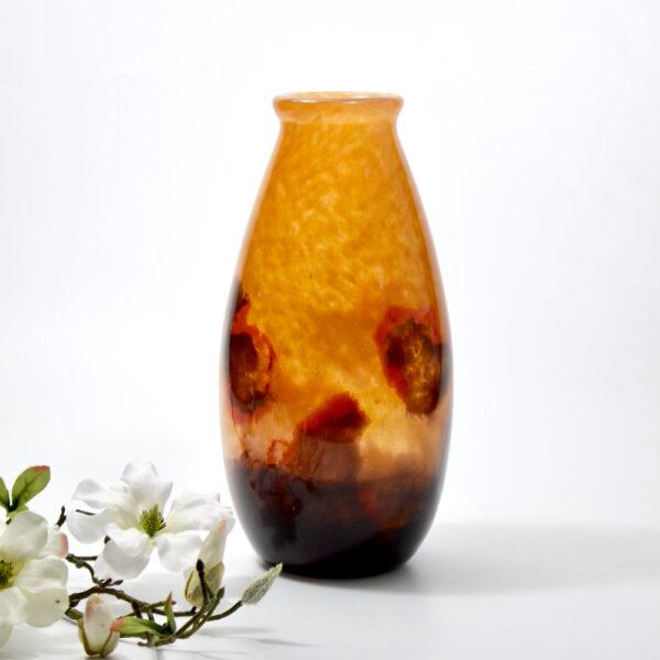 Degué glass art deco vase signed 1930 french antique vase powdered glass 2 6