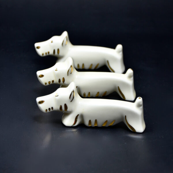 Limoges French art deco knife rests 1930s porcelain french pottery table decor animals goose dog rabbit knife rests
