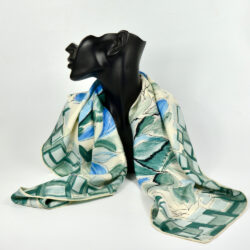 jacques fath silk scarf 1950s french designer scarf couture flute player green blue 1