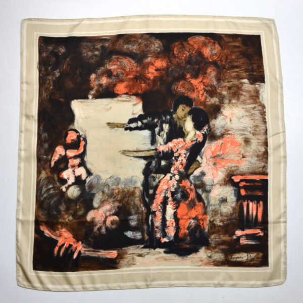 jacques griffe 1950s picture scarf french couture orange black 1950s