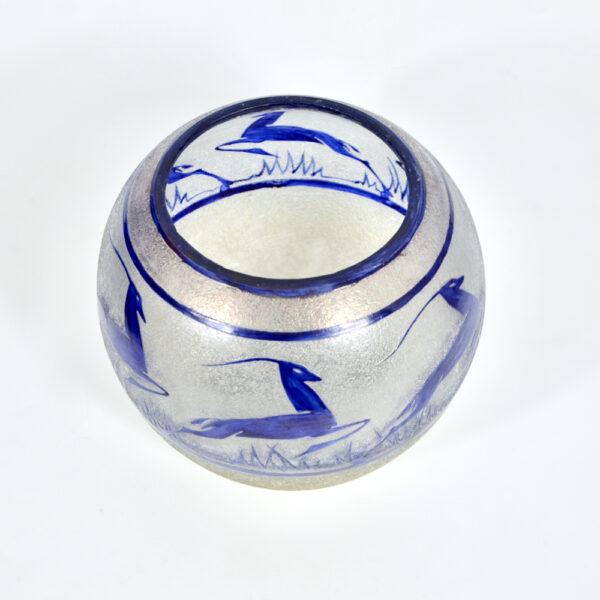 Geometric French Antique Vintage Art Deco Cobalt Blue Glass 2 part Belt Buckle 1910s 1920s 1930s Sewing Haberdashery modernist