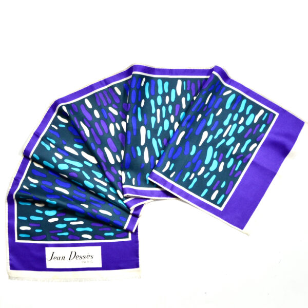 jean dessès french designer silk scarf 1960s paris couture purple green 1 (2)