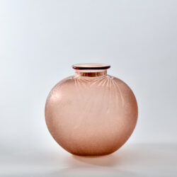 Charles Schneider art deco globe vase in acid-etched pink glass 1930 French glass spherical vase 2