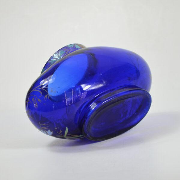 Legras French art nouveau vase cobalt blue enamelled glass 1900 2