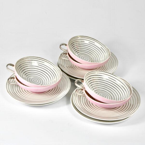 Limoges Art Deco tea cups saucers pink silver 1930 TLB Touze Lemaitre Blancher Primavera French porcelain tete a tete 1