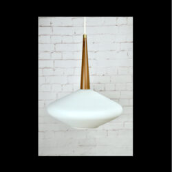 Mid century Scandinavian light in opaline glass, 1960s Danish teak look modernist pendant light