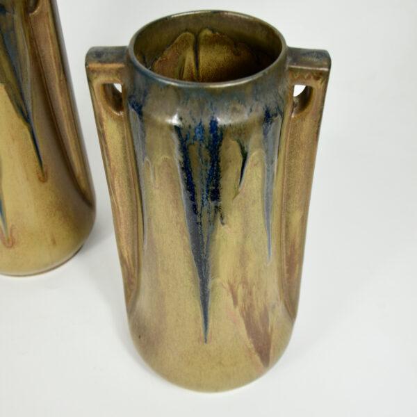 Pair of large Denbac vases art deco stoneware French pottery drip glaze 1930s 2