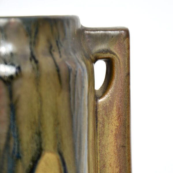 Pair of large Denbac vases art deco stoneware French pottery drip glaze 1930s 4