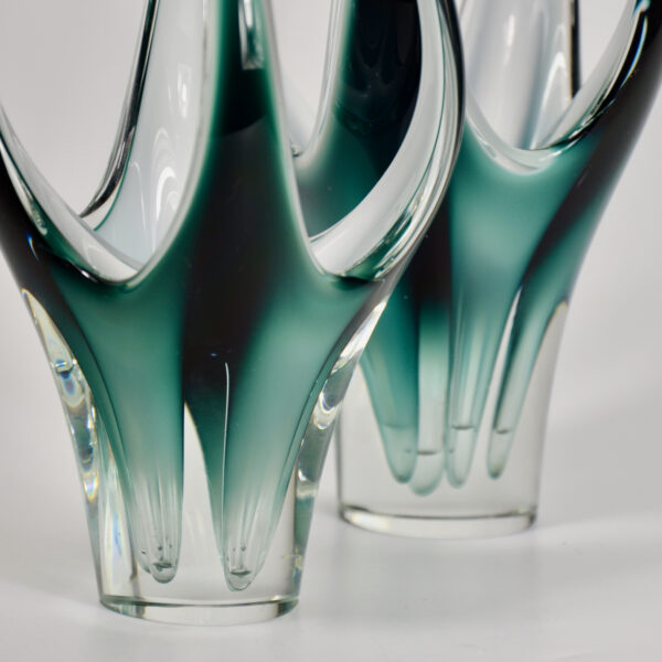 Pair Paul Kedelv coquille vases-mid century Swedish glass- 1950s glass- Flygsfors freeform vase in green 1