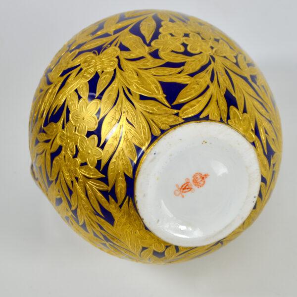 Royal Crown Derby cobalt blue gilt vase, English Victorian porcelain 1880s Royal Crown Derby cobalt blue gilt vase, English Victorian porcelain