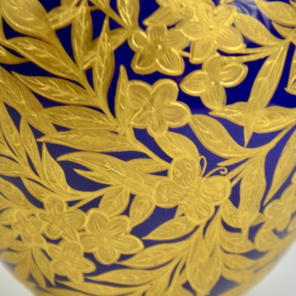 Royal Crown Derby cobalt blue gilt vase, English Victorian porcelain 2