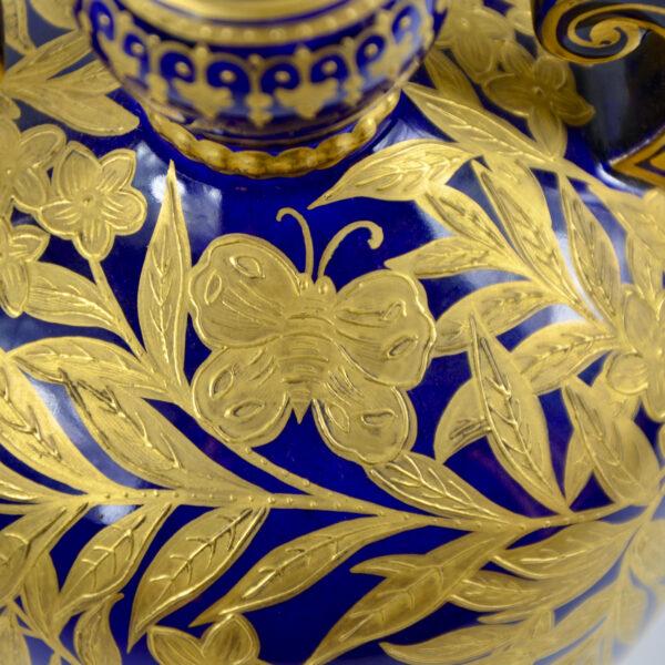 Royal Crown Derby cobalt blue gilt vase, English Victorian porcelain 3