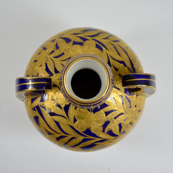 Royal Crown Derby cobalt blue gilt vase, English Victorian porcelain 4