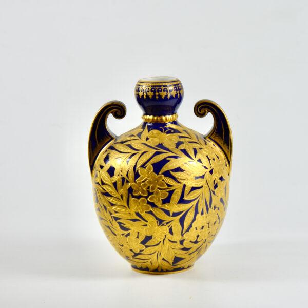 Royal Crown Derby cobalt blue gilt vase, English Victorian porcelain