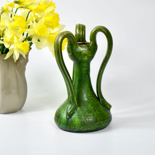 belgian-art-nouveau-vase-with-3-handles-c1900-art-pottery-green-vase 4