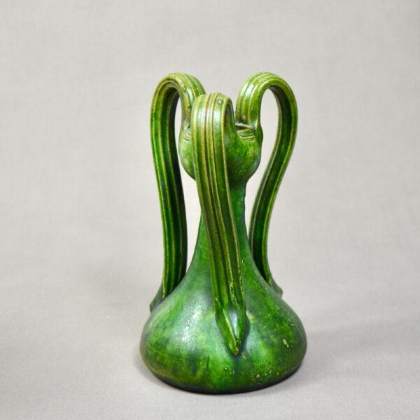 belgian-art-nouveau-vase-with-3-handles-c1900-art-pottery-green-vase 5