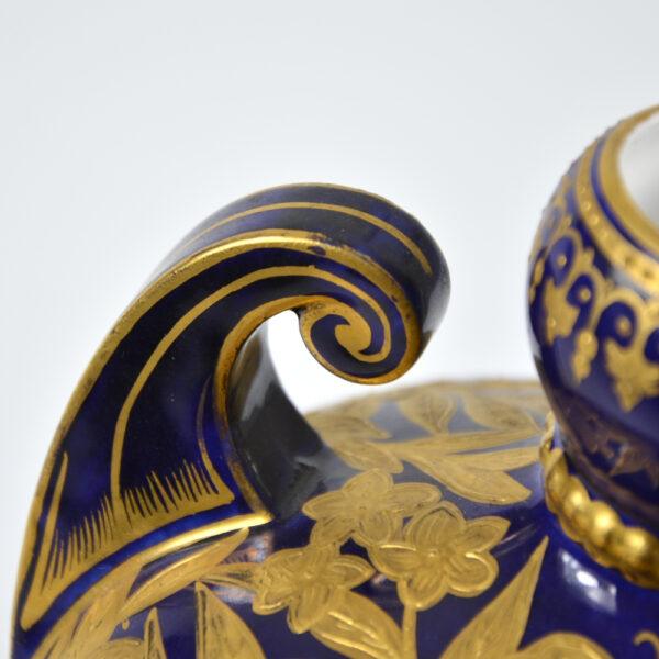crown derby cobalt blue gold gilt scroll handle vase Victorian english porcelalin pottery 1880s 3