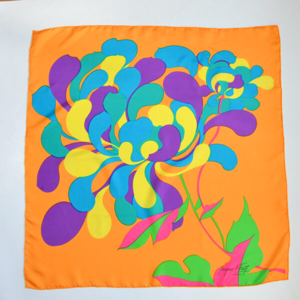 jacques fath silk scarf op art floral multicoloured vintage french designer scarf 1960s