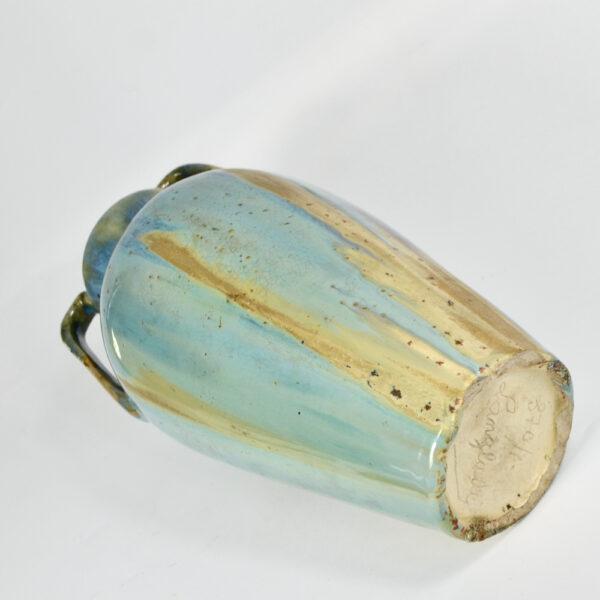 jean langlade glazed stoneware art nouveau baluster vase handles French ceramist 1900s 3