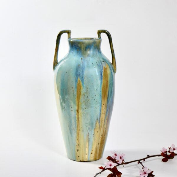 jean langlade glazed stoneware art nouveau baluster vase handles French ceramist 1900s 5