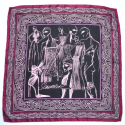 jean louis scherrer vintage silk scarf purple wine fashion models French designer scarf 2