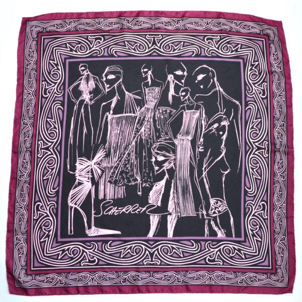 jean louis scherrer vintage silk scarf purple wine fashion models French designer scarf 2