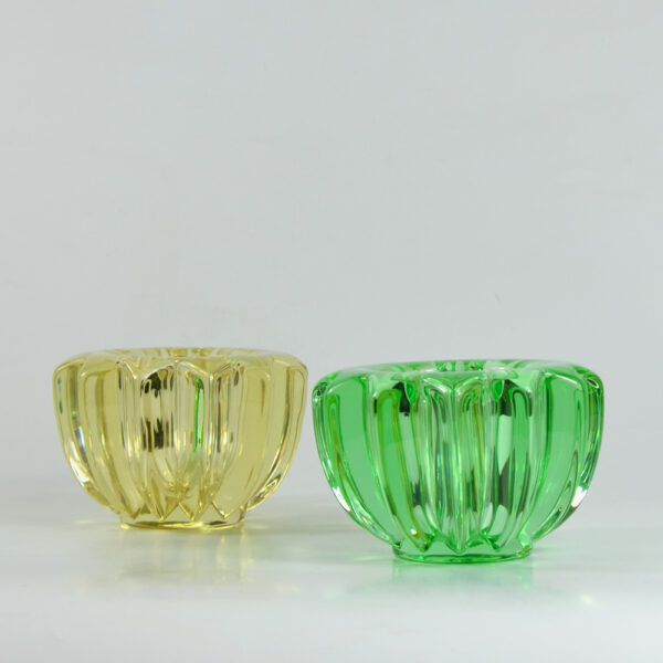 pair pierre d'avesn green yellow glass candle holders votive bowls art deco 1 2