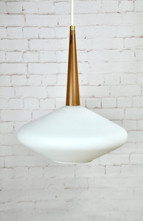Mid century Scandinavian light in opaline glass, 1960s Danish teak look modernist pendant light