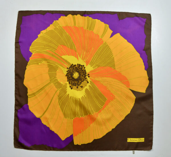 Christian Dior silk scarf vintage French couture scarf floral poppy orange purple 1970s