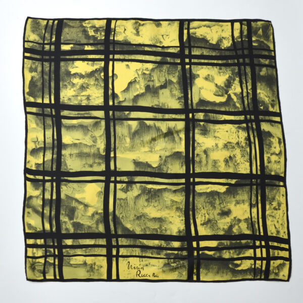 Nina Ricci silk scarf vintage French designer scarf yellow 1960s